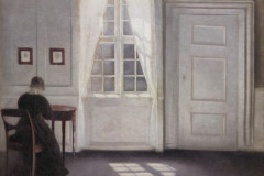 Vilhelm Hammershøi, Interior on the Strandgued with the Artists Wife at the table and the Sun on the floor, 1901.