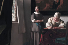 Johannes Vermeer, Woman Writing  a letter with her maid, 1670.
